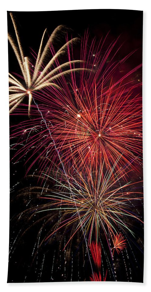 4th Of July Beach Towel featuring the photograph Fireworks by Garry Gay