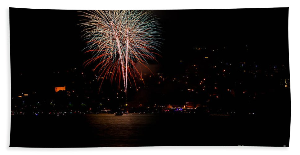 Fireworks Beach Towel featuring the photograph Fireworks by Mats Silvan