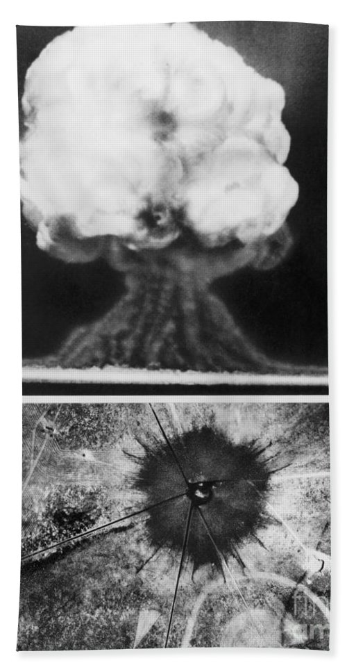 1945 Beach Towel featuring the photograph First Atomic Bomb, 1945 by Granger