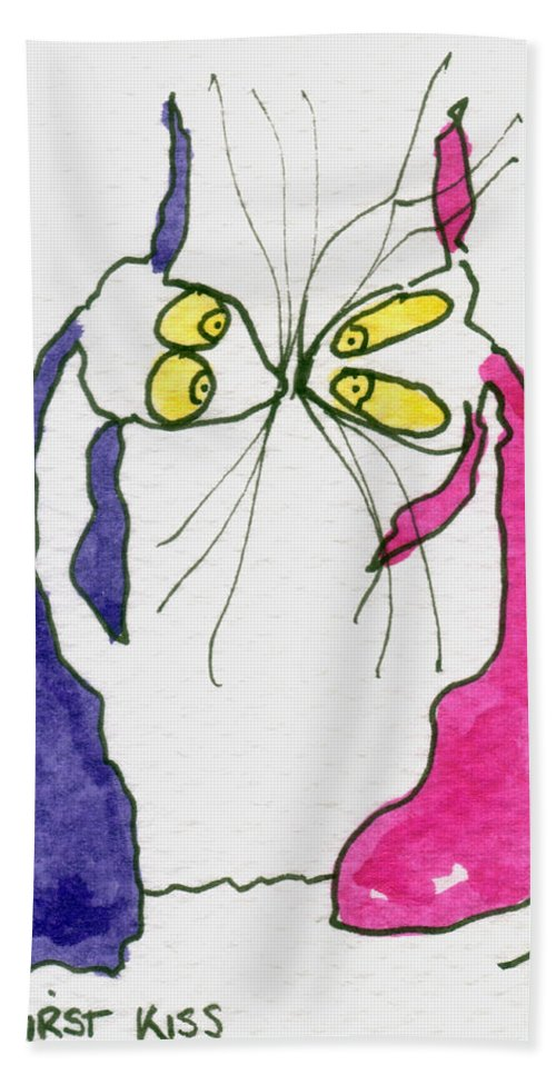 Paper Beach Towel featuring the painting First Kiss by Tis Art