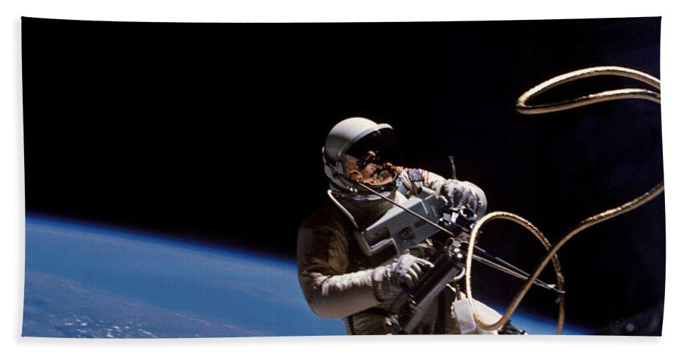 Ed White Beach Towel featuring the photograph First U.s. Spacewalk by Nasa