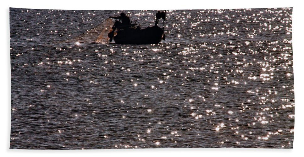Adventure Beach Towel featuring the photograph Fisherman by Stelios Kleanthous