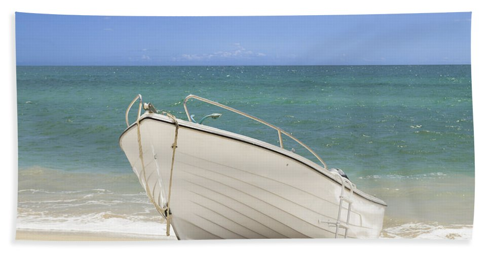Fishing Beach Towel featuring the photograph Fishing Boat On The Beach by Amanda Elwell
