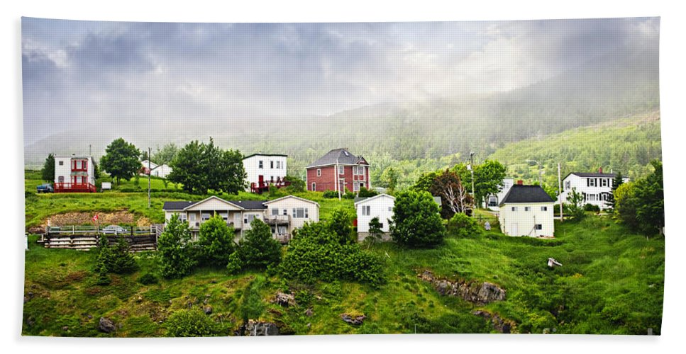 Fishing Beach Towel featuring the photograph Fishing Village In Newfoundland by Elena Elisseeva