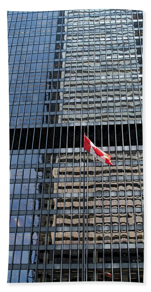 Canadian Flag Beach Towel featuring the photograph Flag In The City by Ian MacDonald