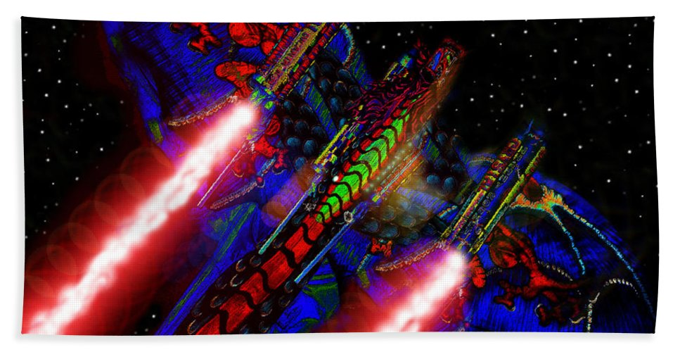 Art Beach Towel featuring the painting Flight Of The Firey Dragon by David Lee Thompson