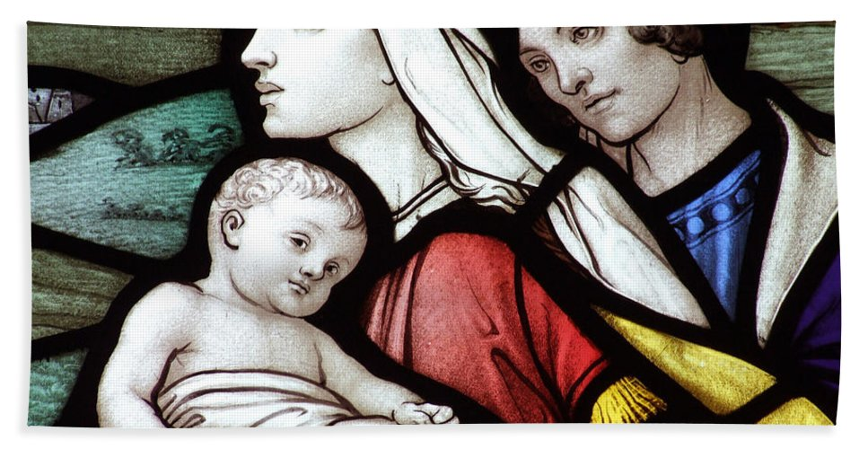 Stained Beach Towel featuring the photograph Flight To Egypt Stained Glass by Munir Alawi