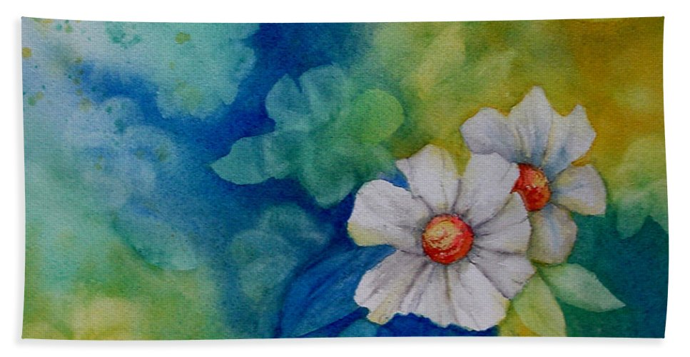 Watercolor Beach Towel featuring the painting Floral by Dee Carpenter