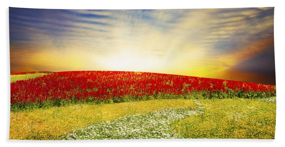 Background Beach Towel featuring the photograph Floral Field On Sunset by Setsiri Silapasuwanchai