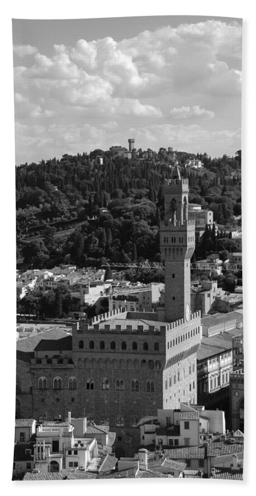Florence Beach Towel featuring the photograph Florence - Black And White by Dany Lison