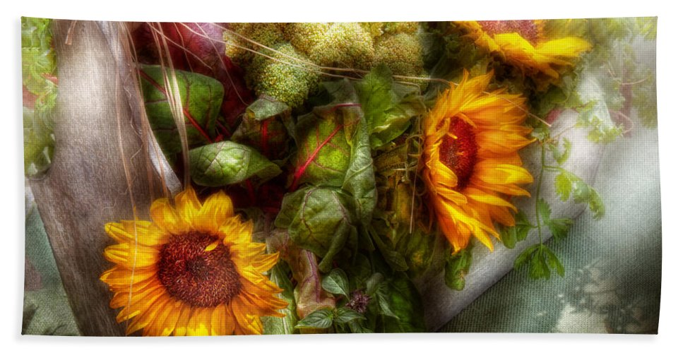 Flower Beach Towel featuring the photograph Flower - Sunflower - Gardeners Toolbox by Mike Savad
