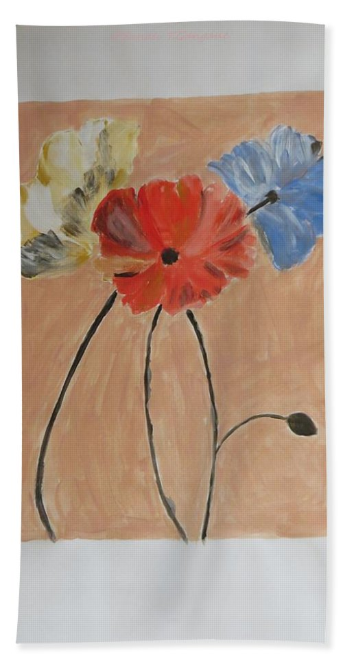 Blue Beach Towel featuring the painting Flower And Bud by Sonali Gangane