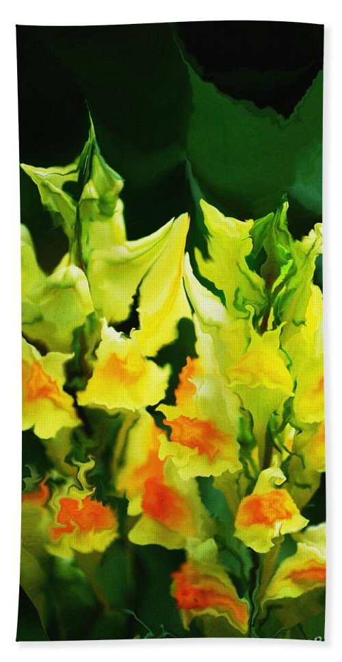 Flowers Beach Towel featuring the digital art Flower Job 120111 by David Lane
