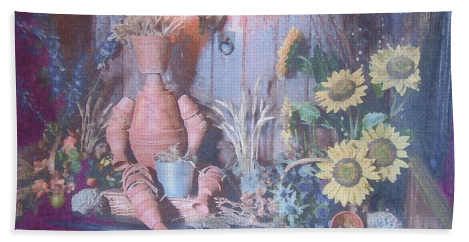 Flowers Beach Towel featuring the painting Flowerpotman by Richard James Digance
