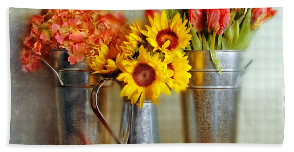 Flowers In Cans Beach Towel featuring the photograph Flowers In Cans by Jill Battaglia