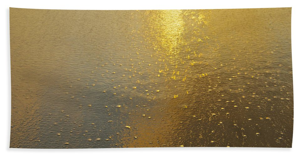 Abstract Beach Towel featuring the photograph Flowing Gold 7646 by Michael Peychich