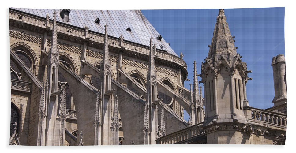 France Beach Towel featuring the photograph Flying Buttress At Nortre Dame Cathedral by Jon Berghoff