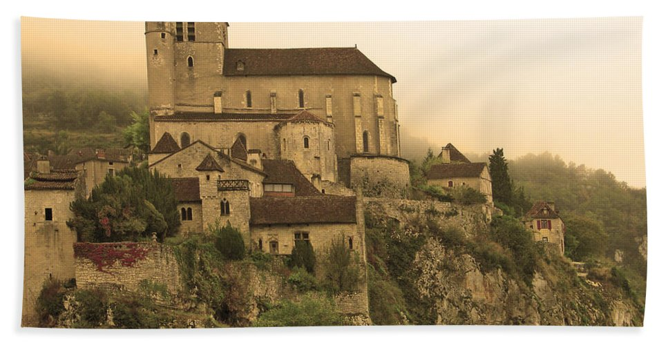 St Cirq Beach Towel featuring the photograph Fog Descending On St Cirq Lapopie In Sepia by Greg Matchick