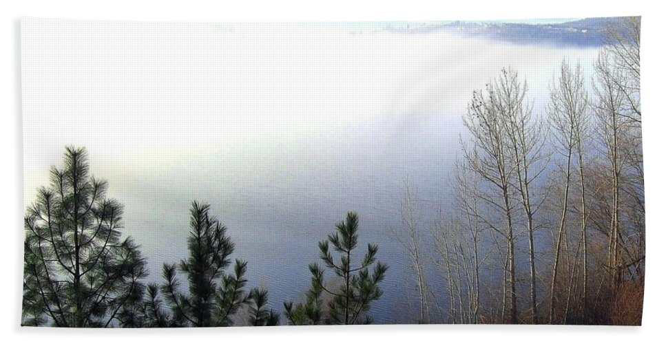 Fog Beach Towel featuring the photograph Fog On Wood Lake by Will Borden