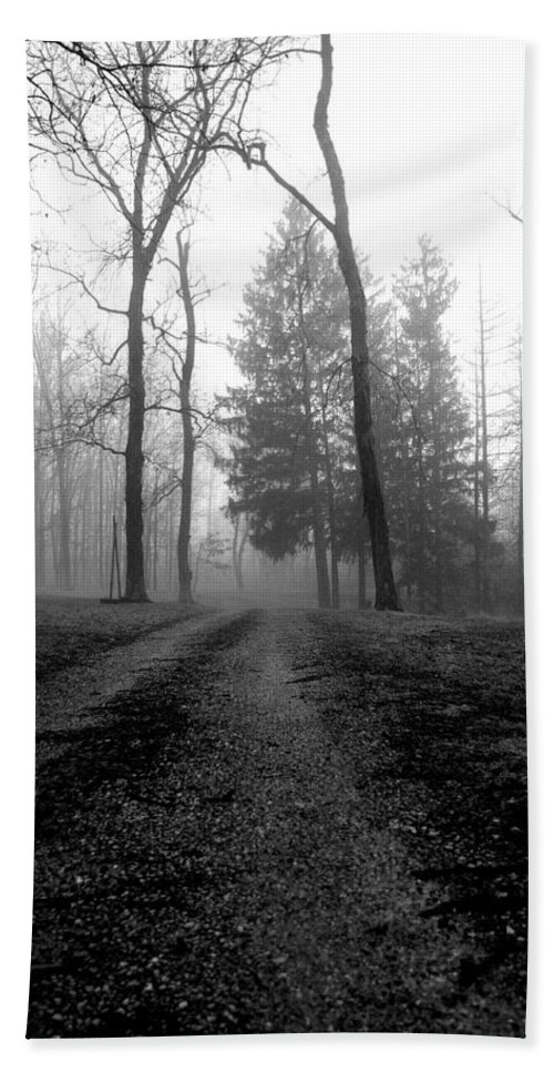 Bw Beach Towel featuring the photograph Foggy Lane By The Lake by Jenny Gandert
