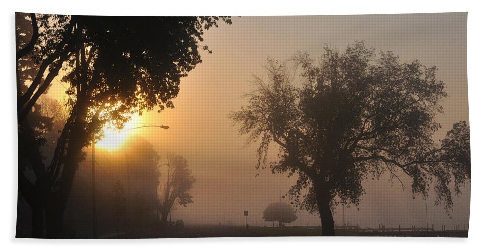 Street Beach Towel featuring the photograph Foggy Morn Street by Tim Nyberg