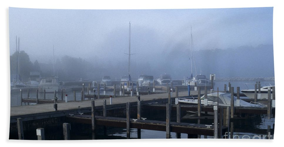 Sandra Bronstein Beach Towel featuring the photograph Foggy Morning In Door County by Sandra Bronstein