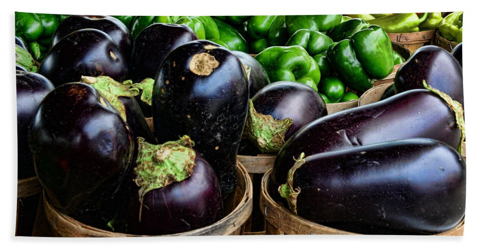 Food - Farm Fresh - Eggplant And Peppers Beach Towel featuring the photograph Food - Farm Fresh - Eggplant And Peppers by Paul Ward