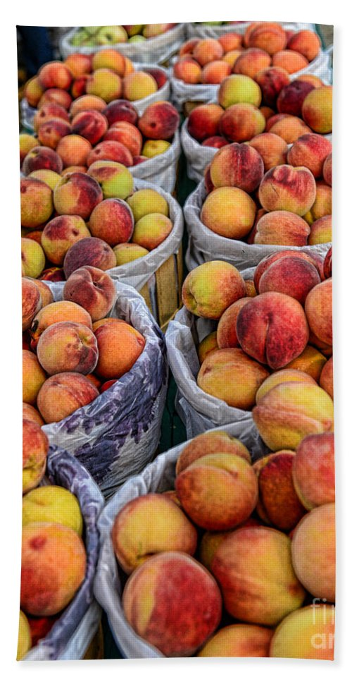 Food - Peaches In Baskets Beach Towel featuring the photograph Food - Harvested Peaches by Paul Ward