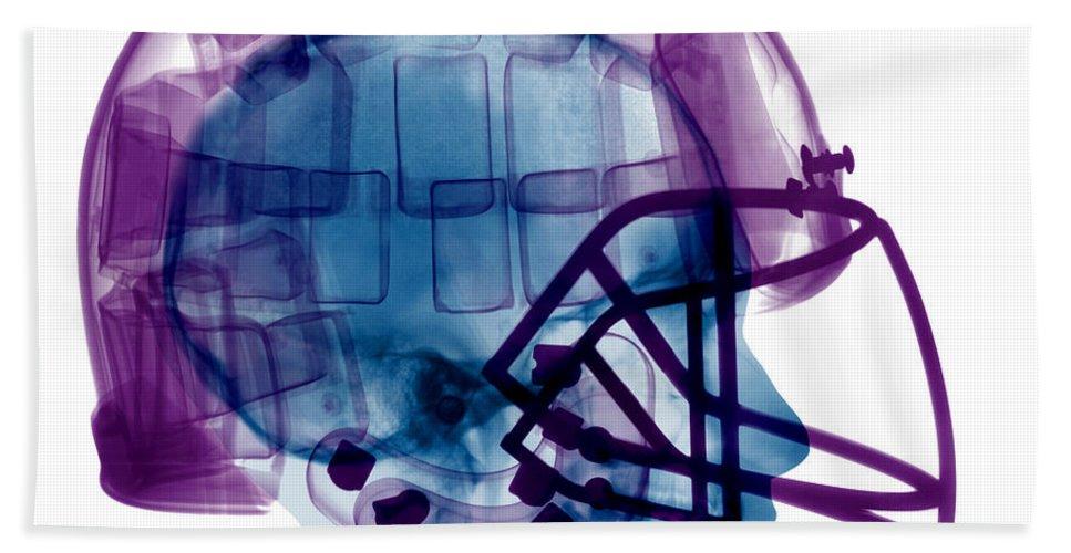 Football Helmet Beach Towel featuring the photograph Football Helmet X-ray by Ted Kinsman