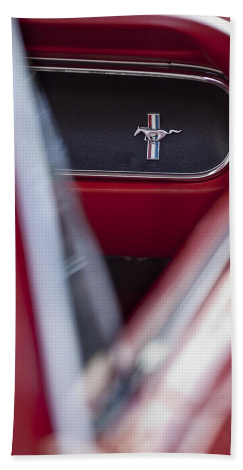 Ford Mustang Beach Towel featuring the photograph Ford Mustang Dash Emblem by Jill Reger