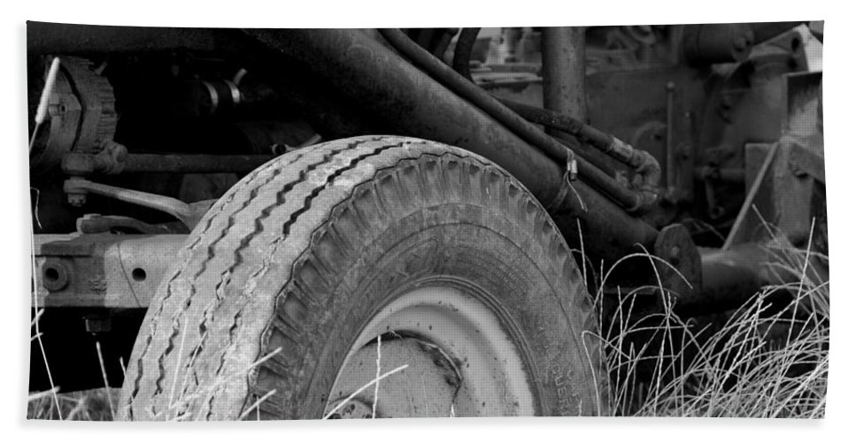 Ford Beach Towel featuring the photograph Ford Tractor Details In Black And White by Jennifer Ancker