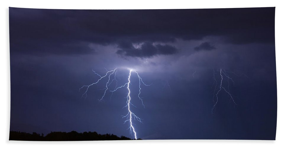 Lightning Beach Towel featuring the photograph Forked Lightning by Ian Middleton