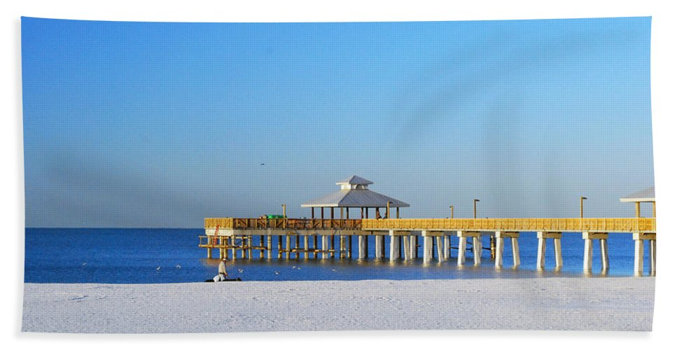 Fort Myers Beach Towel featuring the photograph Fort Myers Beach Pier by Gary Wonning