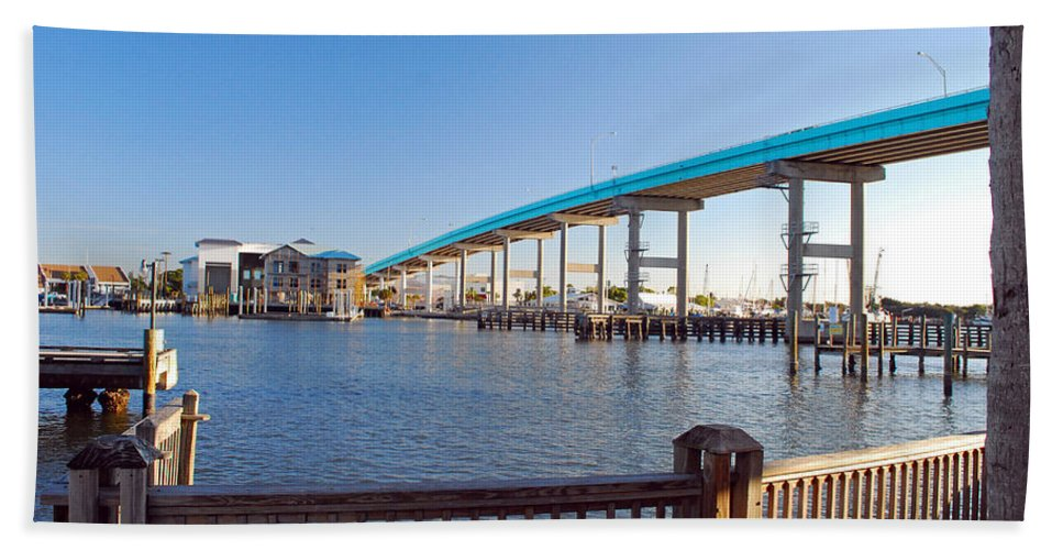 Florida Beach Towel featuring the photograph Fort Myers Bridge by Gary Wonning