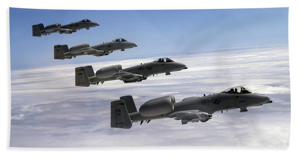 Horizontal Beach Towel featuring the photograph Four A-10 Thunderbolt IIs Fly by Stocktrek Images