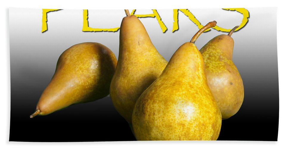 Art Beach Towel featuring the photograph Four Pears With Yellow Lettering by Randall Nyhof