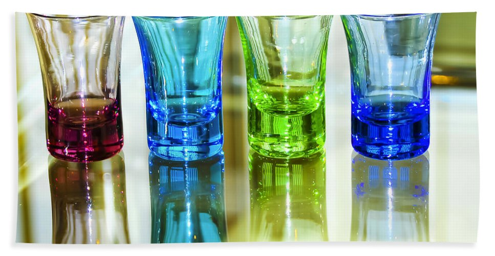 Advocate Beach Towel featuring the photograph Four Vodka Glasses by Svetlana Sewell