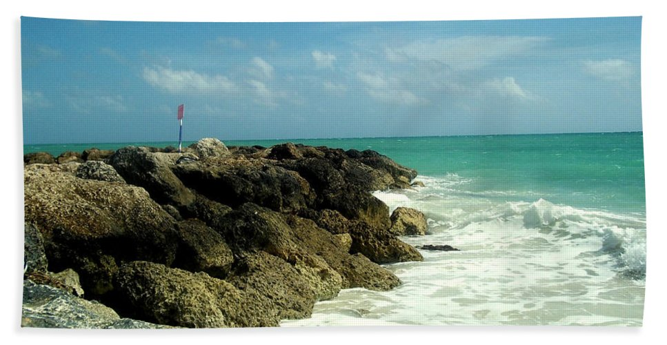 Caribbean Beach Sheet featuring the photograph Freeport Coast by Cynthia Amaral