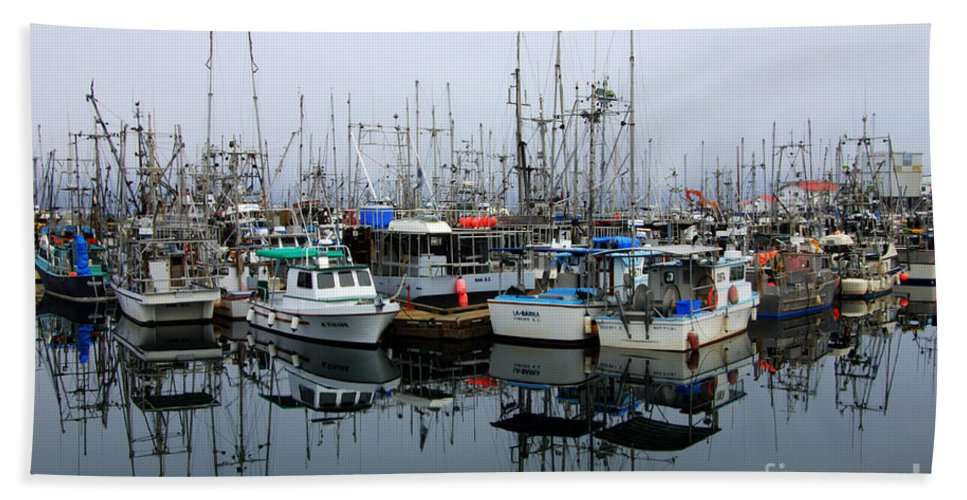 Fishing Boats Beach Towel featuring the photograph French Creek by Bob Christopher