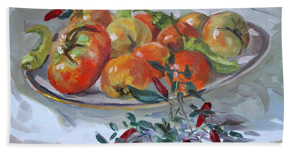 Tomatoes Beach Towel featuring the painting Fresh From The Garden by Ylli Haruni
