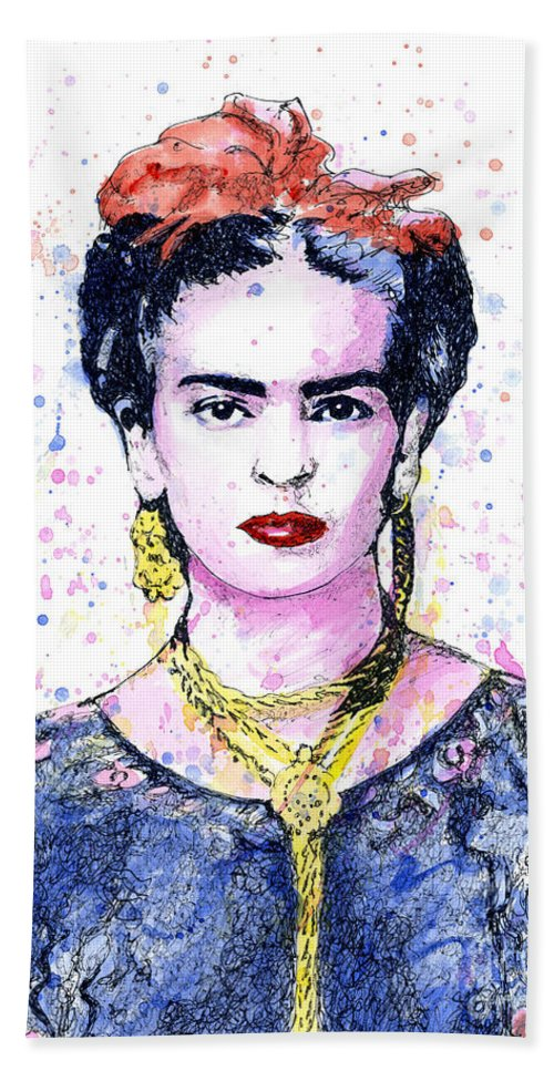 Frid Beach Towel featuring the painting Frida by Chris Mackie