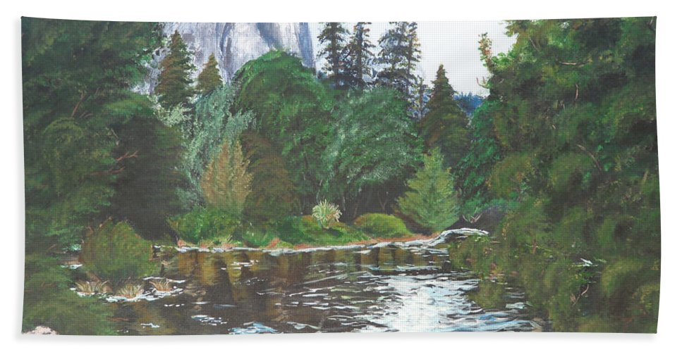 Yosemite Beach Towel featuring the painting Frog's Eye View by Travis Day