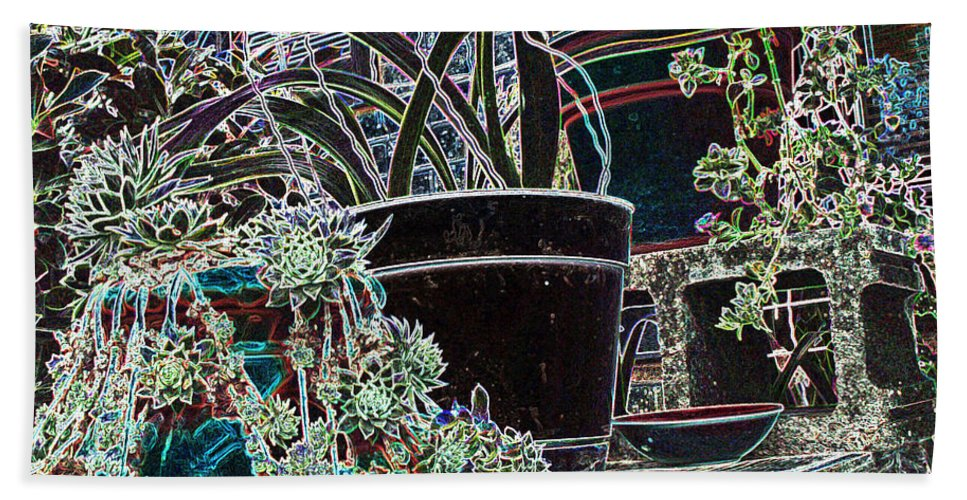 Still Life Beach Towel featuring the photograph Front Porch Garden by Debbie Portwood