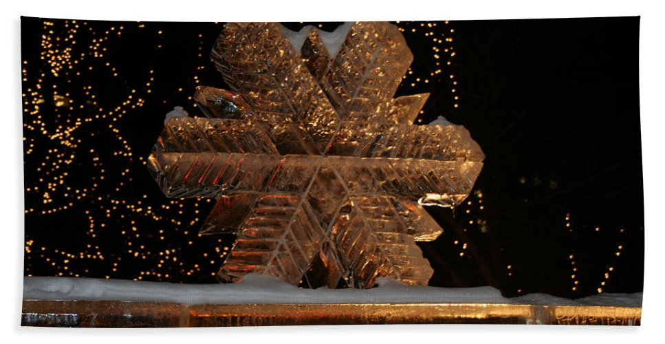 Ice Sculpture Beach Towel featuring the photograph Frozen Flake by Susan Herber