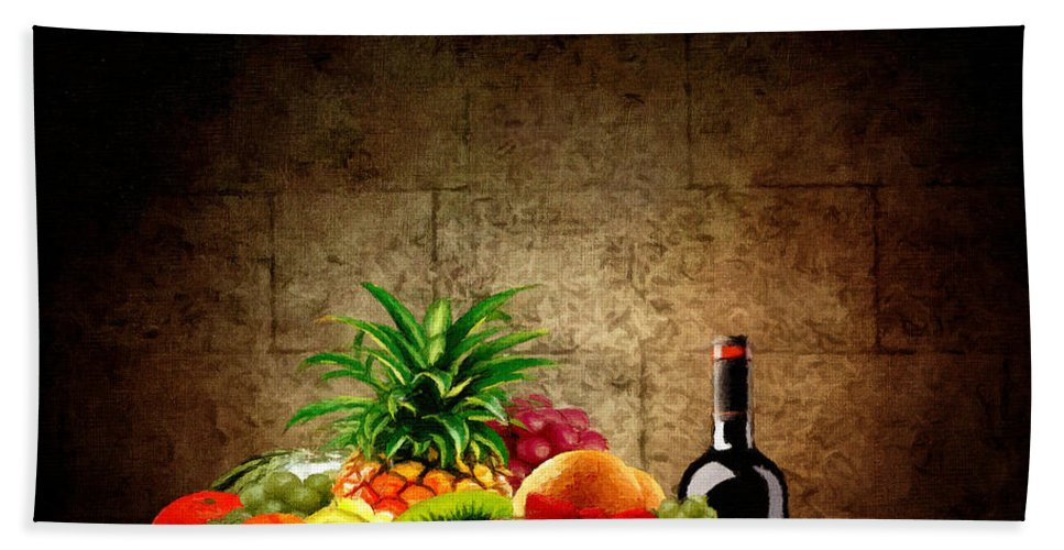Wine Beach Towel featuring the painting Fruit And Wine by Lourry Legarde