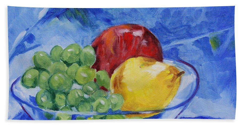 Still Life Beach Towel featuring the painting Fruit On Blue by Jan Bennicoff
