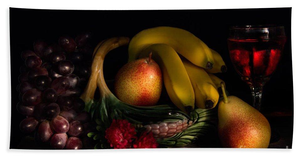 Fruit Beach Towel featuring the photograph Fruit Still Life With Wine by Ann Garrett