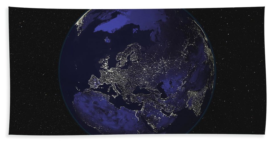 Color Image Beach Towel featuring the photograph Full Earth At Night Showing City Lights by Stocktrek Images