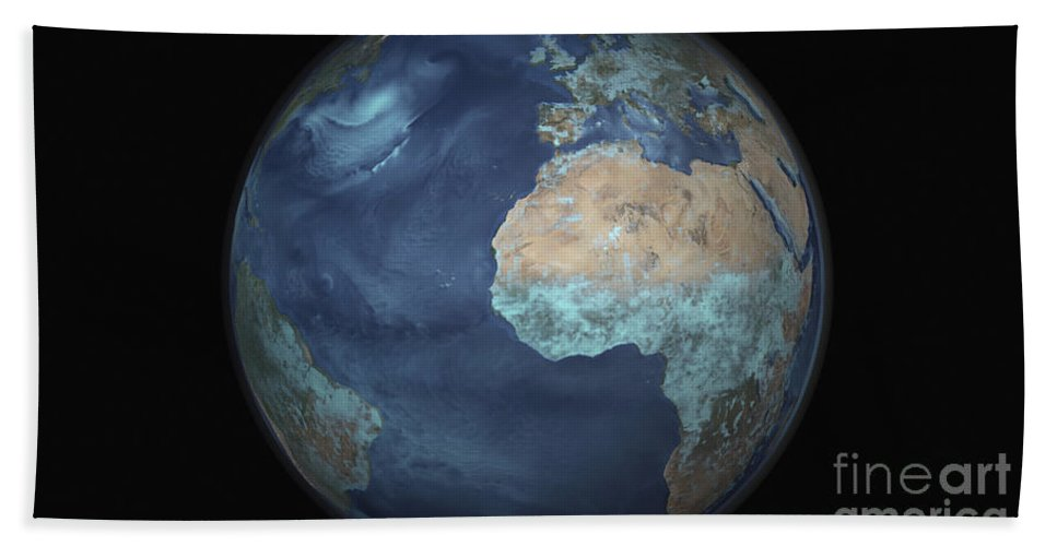 Copy Space Beach Towel featuring the photograph Full Earth Showing Evaporation by Stocktrek Images