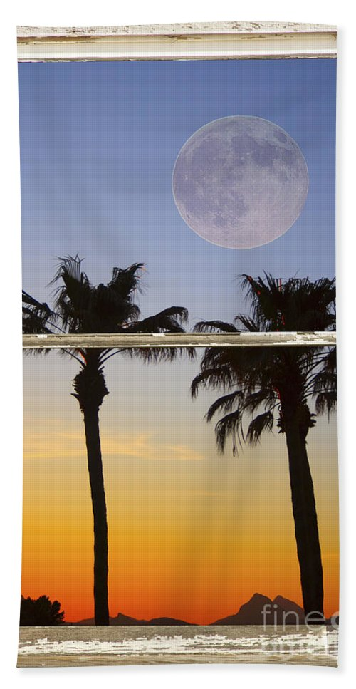 Windows Beach Towel featuring the photograph Full Moon Palm Tree Picture Window Sunset by James BO Insogna